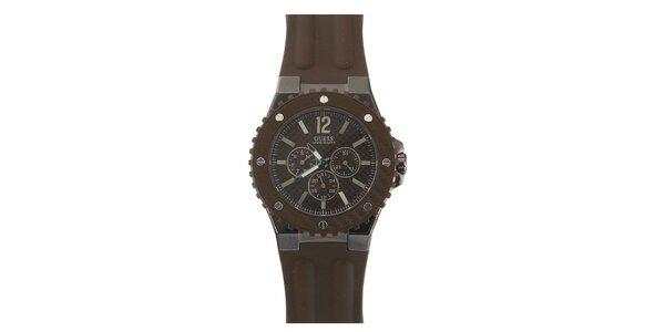 Pánské hnědé analogové hodinky Guess