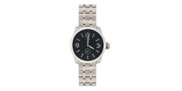 Pánské ocelové hodinky s černým ciferníkem Guess