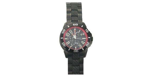 Pánské černé hodinky s červenými prvky Guess