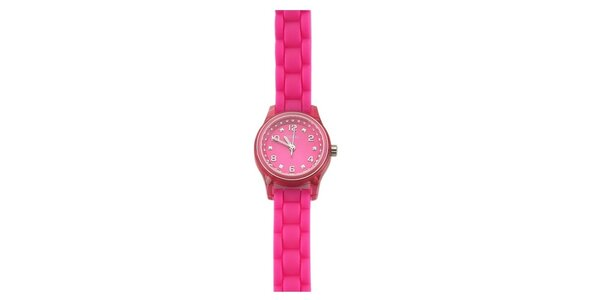 Dámské růžové hodinky se štrasy Guess