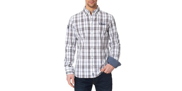 Pánská bílo-šedá kostkovaná košile Paul Stragas