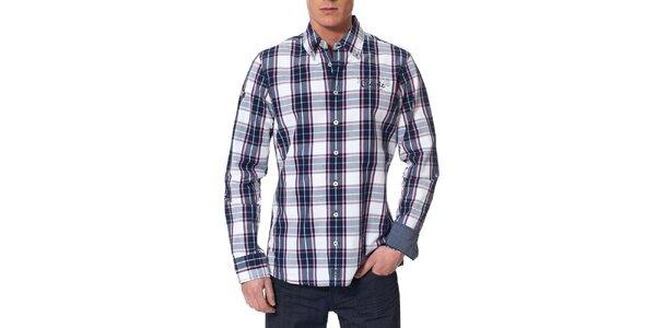 Pánská modře kostkovaná košile s růžovými proužky Paul Stragas