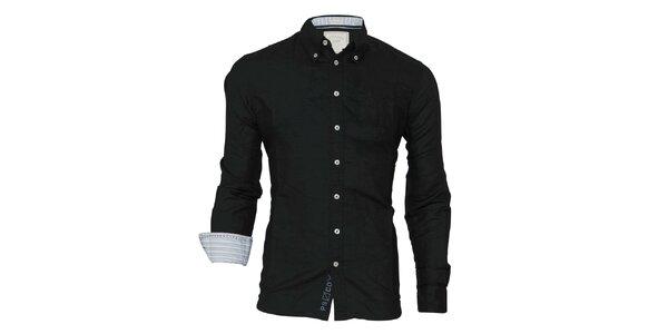 Pánská černá košile s kontrastními manžetami Paul Stragas