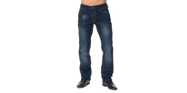 Dámské tmavě modré džíny s šisováním Paul Stragas