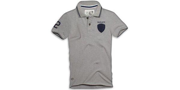 Pánské šedé polo triko s krátkým rukávem Paul Stragas