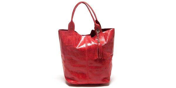 Dámská červená kabelka se dvěma uchy Mangotti