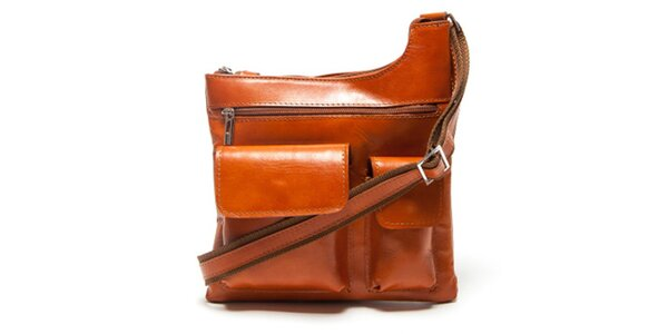 Dámská koňaková kabelka Mangotti s vnějšími kapsami
