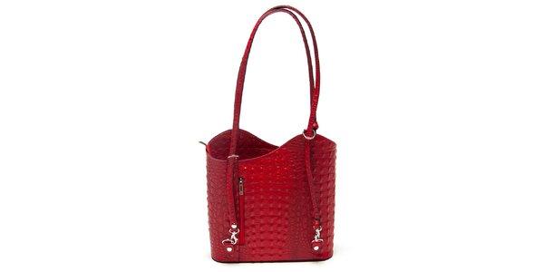 Dámská červená krokodýlí kabelka Mangotti
