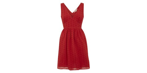 Dámské červené šaty s perforací Uttam Boutique