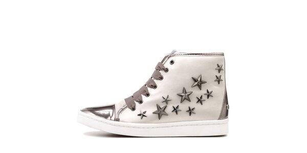 Dámské kotníkové tenisky se stříbrnými prvky a hvězdami na boku Blink