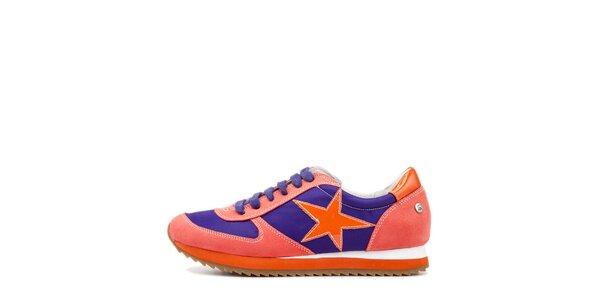 Dámské červeno-oranžovo-fialové tenisky s hvězdou Blink