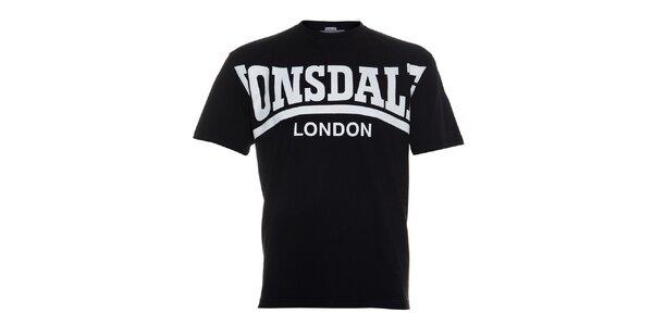 Pánské černé tričko Lonsdale s krémovým potiskem