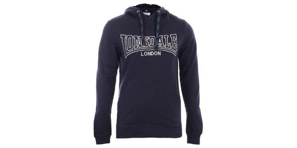 Pánská tmavě modrá slim fit mikina s kapucí Lonsdale 92049846678