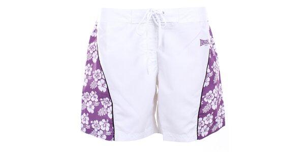 Dámské bílé šortky s fialovými stranami Lonsdale