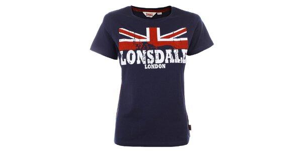 Dámské tmavomodré tričko s nápisem Lonsdale