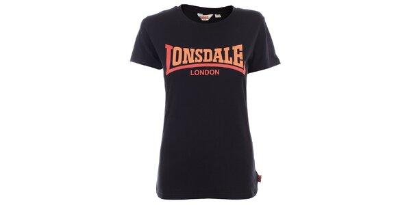 Dámské černé tričko s oranžovým nápisem Lonsdale