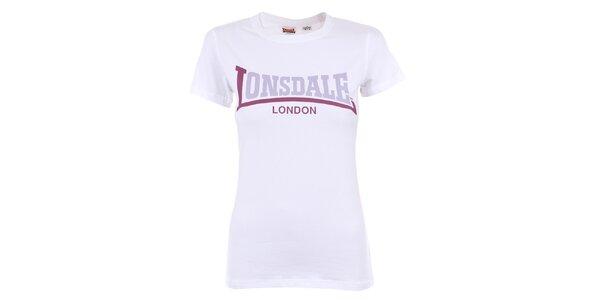 Dámské bílé tričko s fialovým nápisem Lonsdale