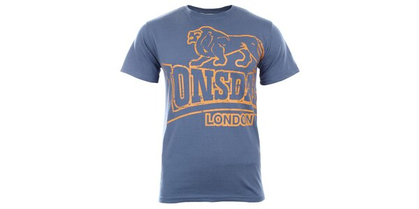 Pánské modré tričko s tmavě žlutým potiskem Lonsdale