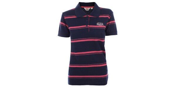 Dámské modro-růžové pruhované polo tričko Lonsdale