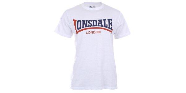 Pánské bílé triko s krátkým rukávem a dvoubarevným potiskem Lonsdale