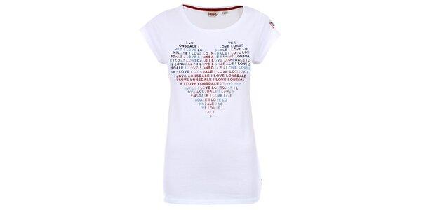 Dámské bílé tričko se srdíčkem Lonsdale