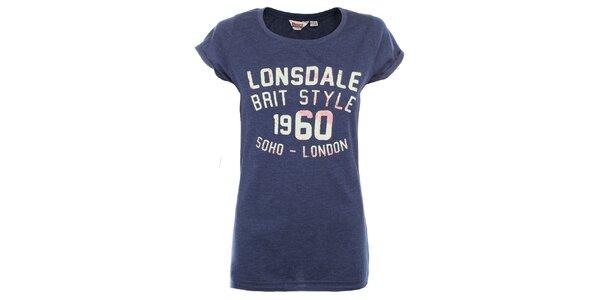 Dámské modré tričko s nápisem na hrudi Lonsdale