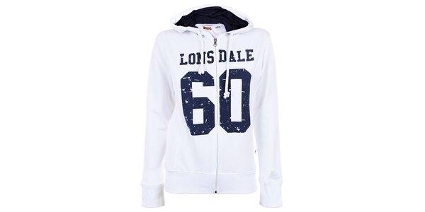 Dámská bílá mikina na zip s číslem Lonsdale