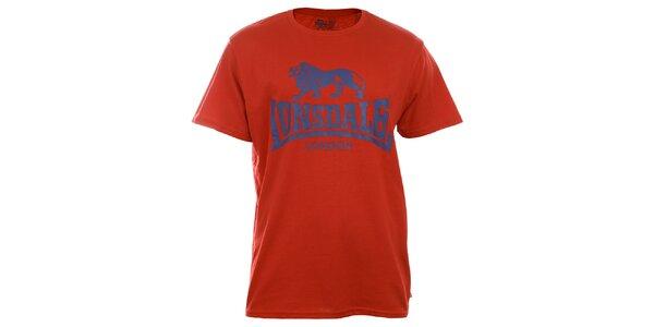 Pánské červené tričko s krátkým rukávem a modrým potiskem Lonsdale