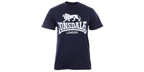 Pánské tmavě modré tričko s krátkým rukávem a bílým potiskem Lonsdale
