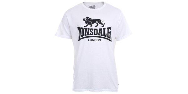Pánské bílé tričko s krátkým rukávem a černým potiskem Lonsdale