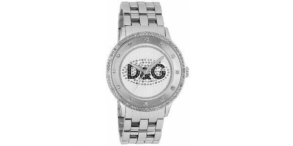 Dámske hodinky s kulatým pouzdrem osázeným zirkony Dolce & Gabbana