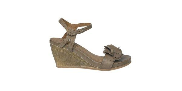 Dámské šedohnědé sandálky na klínku Buggy
