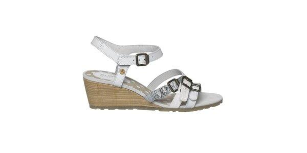 Dámské bílé páskové sandály na klínku Buggy