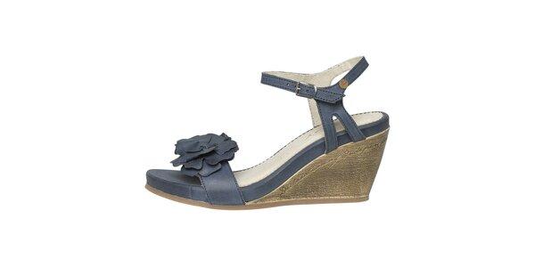 Dámské modré sandálky na klínku Buggy