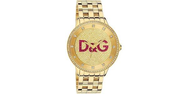 Unisexové ocelové hodinky ve zlaté barvě s krystaly Dolce & Gabbana