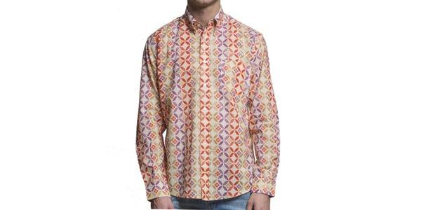 Pánská barevná vzorovaná košile s dlouhým rukávem Yhoss