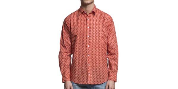 Pánská oranžová květovaná košile s dlouhým rukávem Yhoss