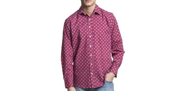 Pánská vínová vzorovaná košile s dlouhým rukávem Yhoss