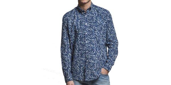 Pánská tmavě modrá vzorovaná košile Yhoss