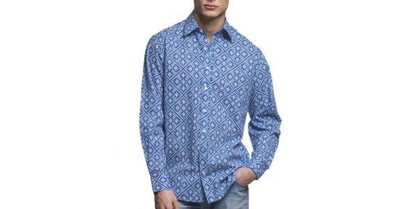 Pánská modrá vzorovaná košile Yhoss