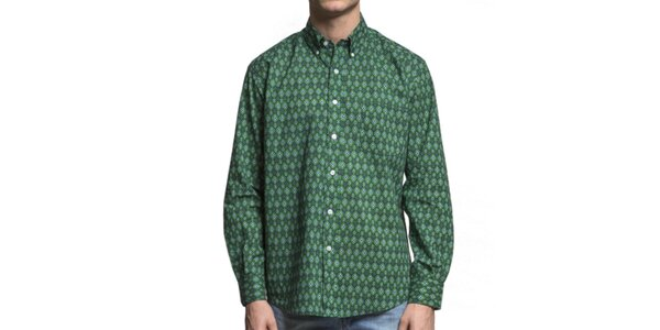 Pánská zelená vzorovaná košile Yhoss