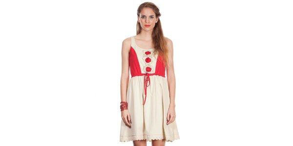 Dámské béžovo-červené šaty Missing Johnny