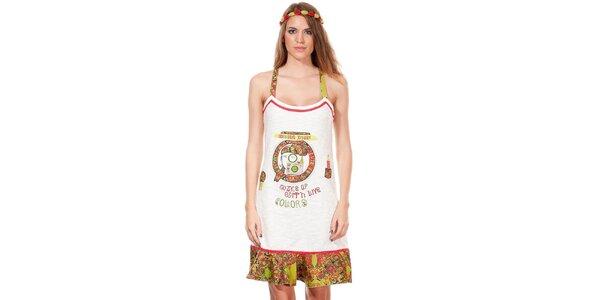 Dámské bílo-zelené hippie šaty Missing Johnny