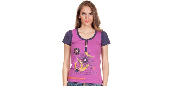 Dámské fialové tričko s potiskem a knoflíčky Missing Johnny