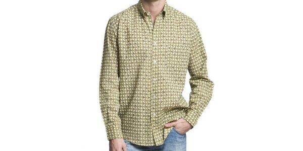 Pánská krémovo-zeleno-modrá vzorovaná košile Yhoss
