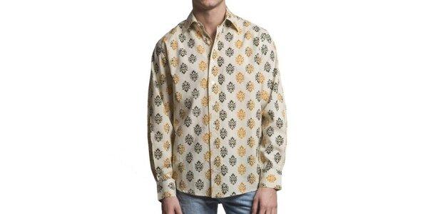 Pánská krémová košile se vzorem Yhoss