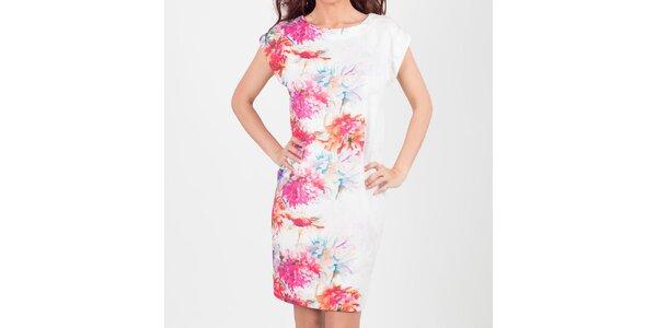 Dámské bílé šaty s pastelovými květy Chaser