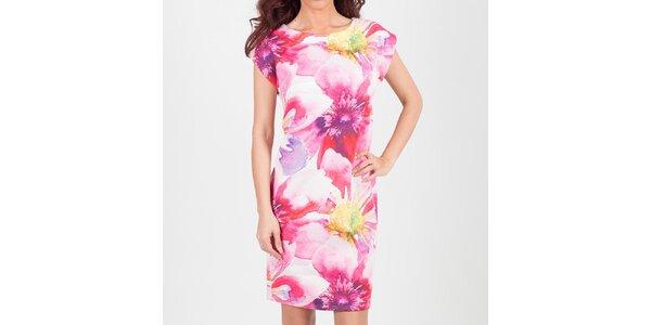 Dámské krátké bílé šaty s růžovými květy Chaser