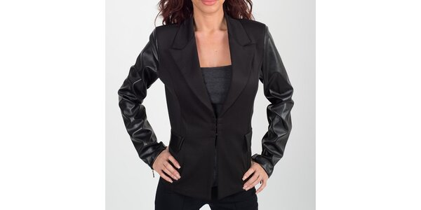 Dámské černé sako s koženkovými rukávy Chaser