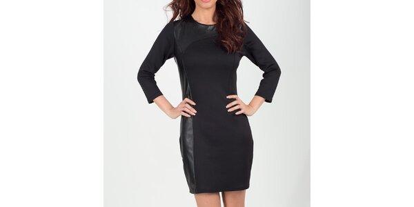 Dámské černé šaty s koženkovými boky Chaser